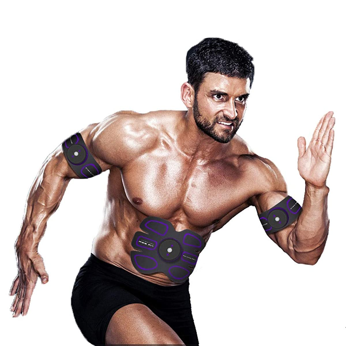 自分自身フレームワーク強大なEMS ABSトレーナー、腹部調色ベルトAbトナーEMSマッスルスティミュレーター、マッスルトナーフィットネストレーニングギア(男性用)女性腹部&アーム&レッグトレーナー