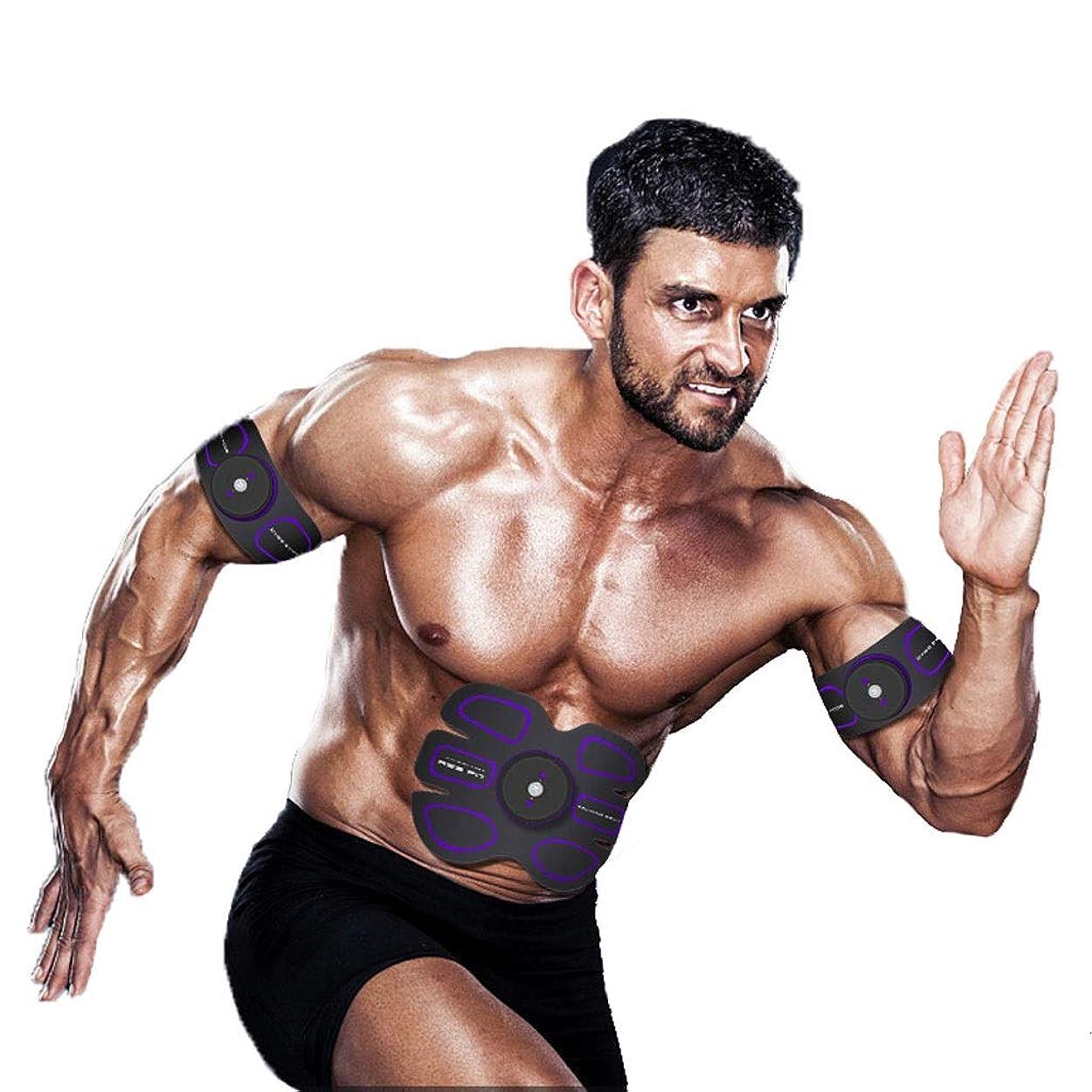 ガード素晴らしい良い多くのインクEMS ABSトレーナー、腹部調色ベルトAbトナーEMSマッスルスティミュレーター、マッスルトナーフィットネストレーニングギア(男性用)女性腹部&アーム&レッグトレーナー