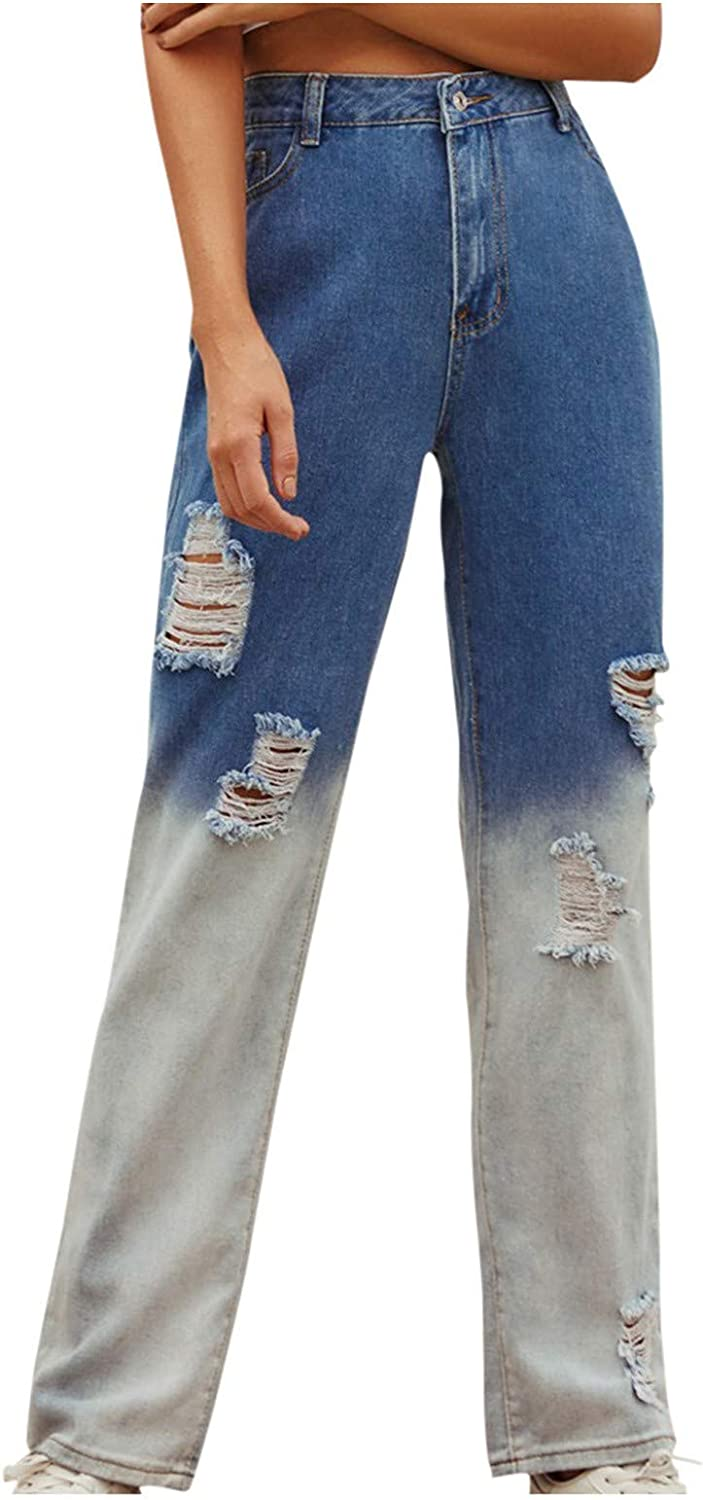 Euone_Clothes Jeans Pant for Women, Womwen's Stitching High-Waisted Slimming High Street Denim Wide-Leg Pants