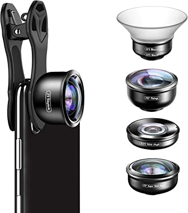 Apexel HD Mobile Phone Camera Lens Set, 5 in 1 Phone Lens- 15-20x Macro Lens, 110°Wide Angle, 170°Super Wide Angle, 195°Fisheye, 2x Portrait Lens for iPhone XS Max/X/XR/8/7/6Plus & Samsung Smartphones