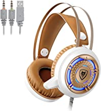 NUBWO Gaming Headset USB and 3.5mm with Microphone Computer Gamer Headphones for PC Games Noise Cancelling Over Ear Comfortable Protein Earpads & Cool LED Light (White)