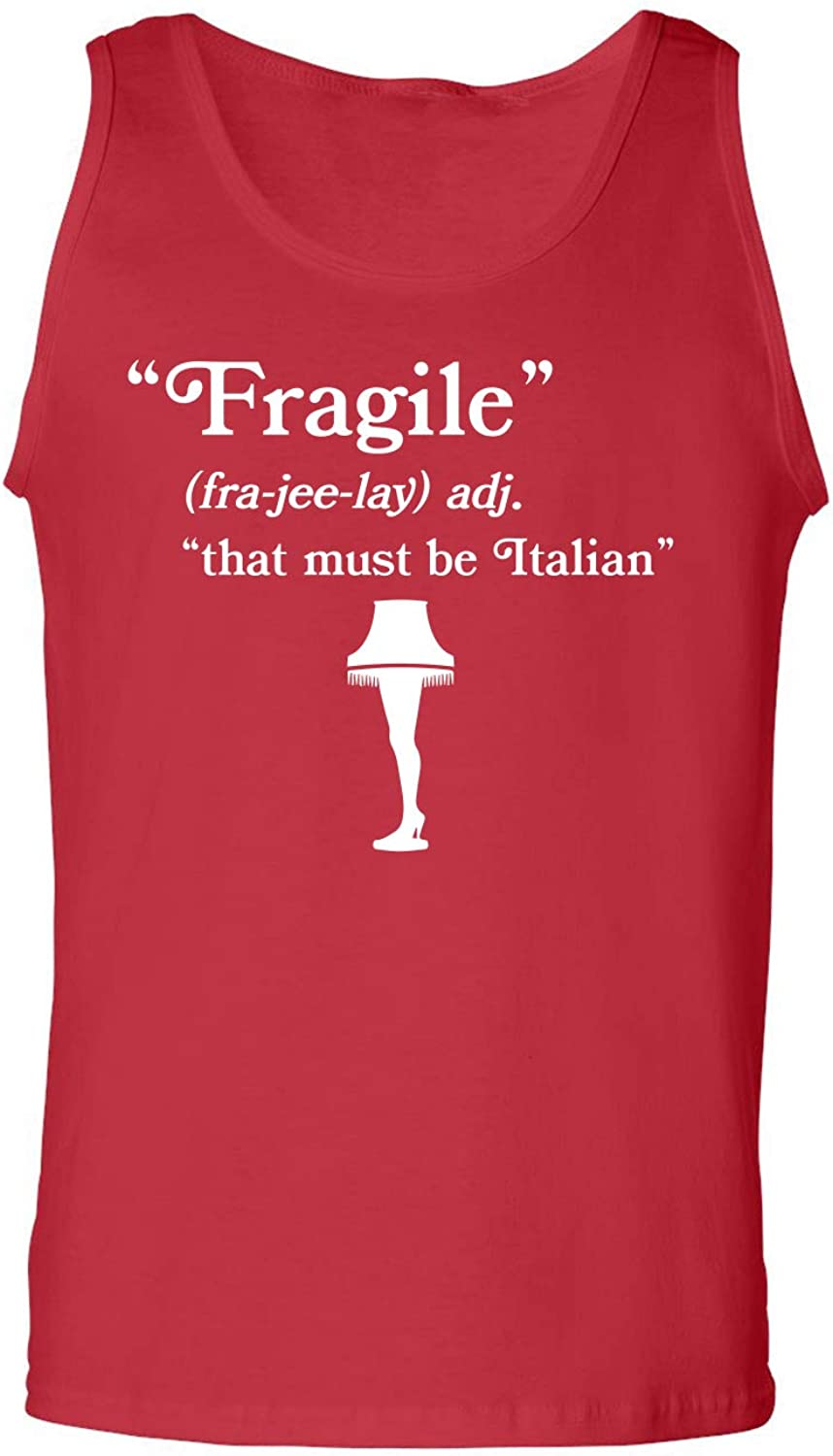 Fragile That Must Be Italian Adult Tank Top in Red - XXX-Large