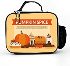 DuoduoBP Leather Insulated Pumpkin Spice Clip Art Lunch Box Bag for Men Women,Leakproof Thermal Lunch Tote for Adult Kids,Lunch Cooler for Office Work Outdoor Picnic