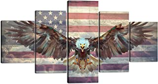 Yatsen Bridge 5 Panels Modern American Flag Wall Art Cool Eagle Spreads Its Wings with USA Flag Painting Prints on Canvas Rustic Wall Decor Stretched by Wooden Frame Ready to Hang - 60''W x 32''H