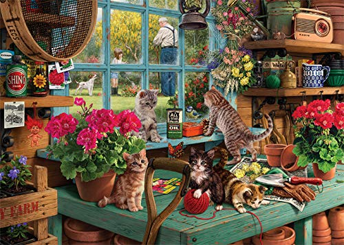 Puzzles for Adults 1000 Piece - Wooden Window Cats Jigsaw Puzzles 1000 Pieces for Adults Family Friends as Thanksgiving (FF Window Cats)