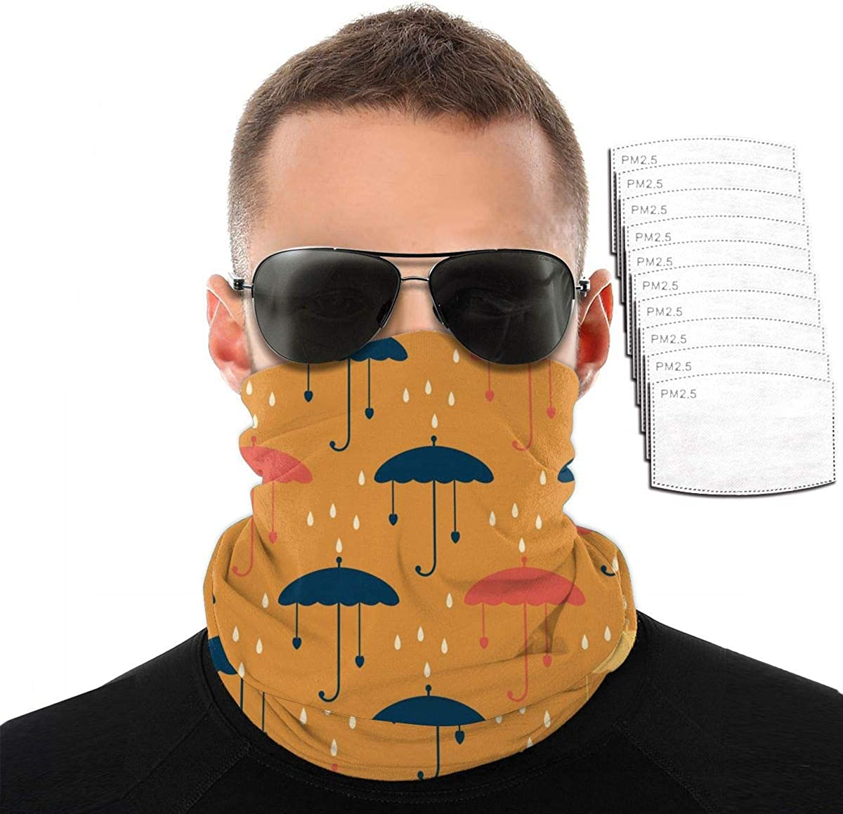 Face Mask Raindrops and Umbrellas Mouth Cover Shield Bandana Balaclava Neck Gaiter Tube Face Scarf with Filters Pieces