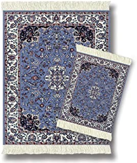 "Lextra (Contemporary Jaipur), MouseRug & CoasterRug Set, Blues, Ivory and Pink, 10.25"" x 7.125"", one MouseRug and one Matching CoasterRug"