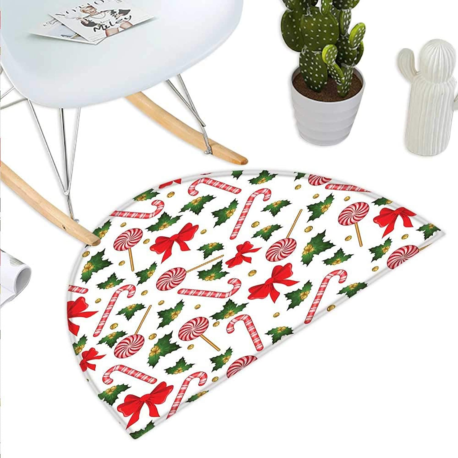 Candy Cane Semicircle Doormat Holly Berry Mistletoe Traditional Red and White Patterned Sugary Food on Sticks Halfmoon doormats H 43.3  xD 64.9  Multicolor