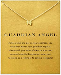 HENGSONG Gold Lucky Wish Card Necklace with gift card to Families Friends Lovers for Best Wish