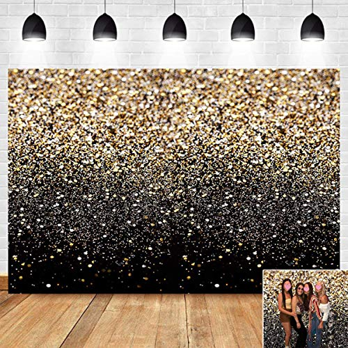 Gold and Black Photography Backdrop Sequin Spot Bokeh Starry Sky Background Supplies Wedding Baby Portrait Shooting Photo Booth Props 7x5ft