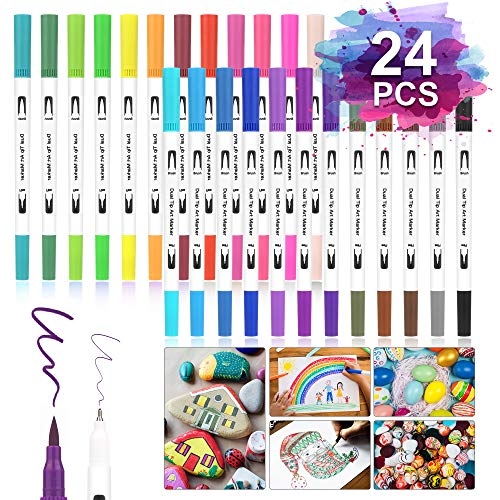 Dual Tip Brush Pens,Rotuladores de Punta Doble 24 Colores,Rotuladores Doble Punta Acuarelables para Caligrafía, Boceto, Diseño, Firma, Cómic,Bolígrafos de fibra [1-2 mm] y fineliners [0.4 mm]
