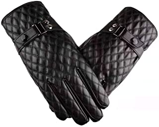 Womens Leather Gloves Touch Screen Mittens Ladies Soft Warm Velvety Lining Winter Gloves with Lattice Decoration (Black)