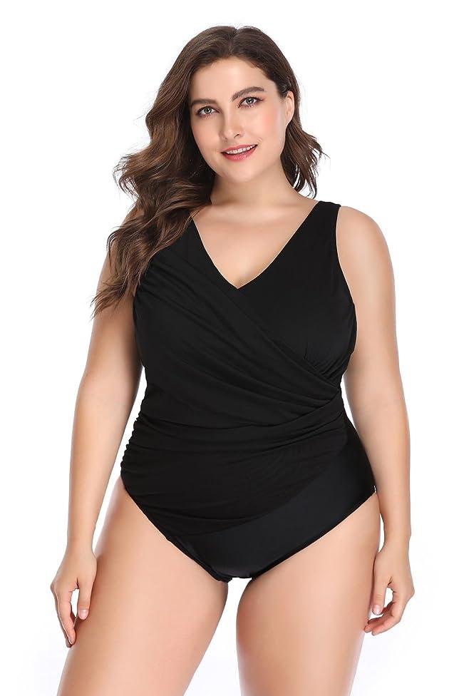 Denoise NY Women's One Piece Plus Size Swimdress Cover up Swimsuit Tankini (1X / 14W-16W, Black-A)
