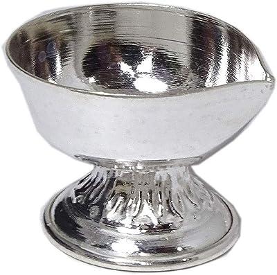 Sahiba Gems Designer Silver Deepak Diya Chandi Diya Puja Item for Daily use Purpose (Silver 7.750 Grams)