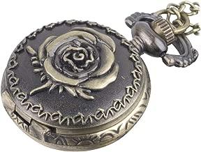 81stgeneration Women's Analogue Quartz Vintage Style Rose Pocket Watch Brass Pendant Necklace, 78 cm