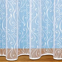 "John Aird Scroll Design Net Curtain - Sold By The Metre - (Drop: 45"" (114cm))"