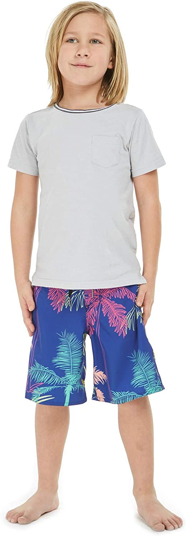 Boy's Spandex Hawaiian Beach Board Shorts with Elastic Tie and Pocket in Crayon Palms