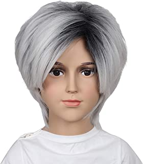 ColorGround Kids and Teens Size Short Black Ombre Silvery White Cosplay Wig for Halloween and Cons