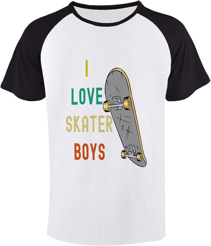 I Love Skater Boys Shirt Mens Sport Short Sleeve Cool Cotton Tshirts