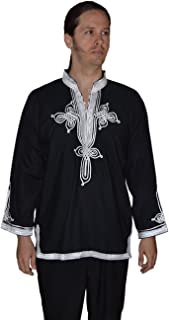 Marrakesh Men Tunic Caftan With White Tread Embroidery Breathable X-large Black
