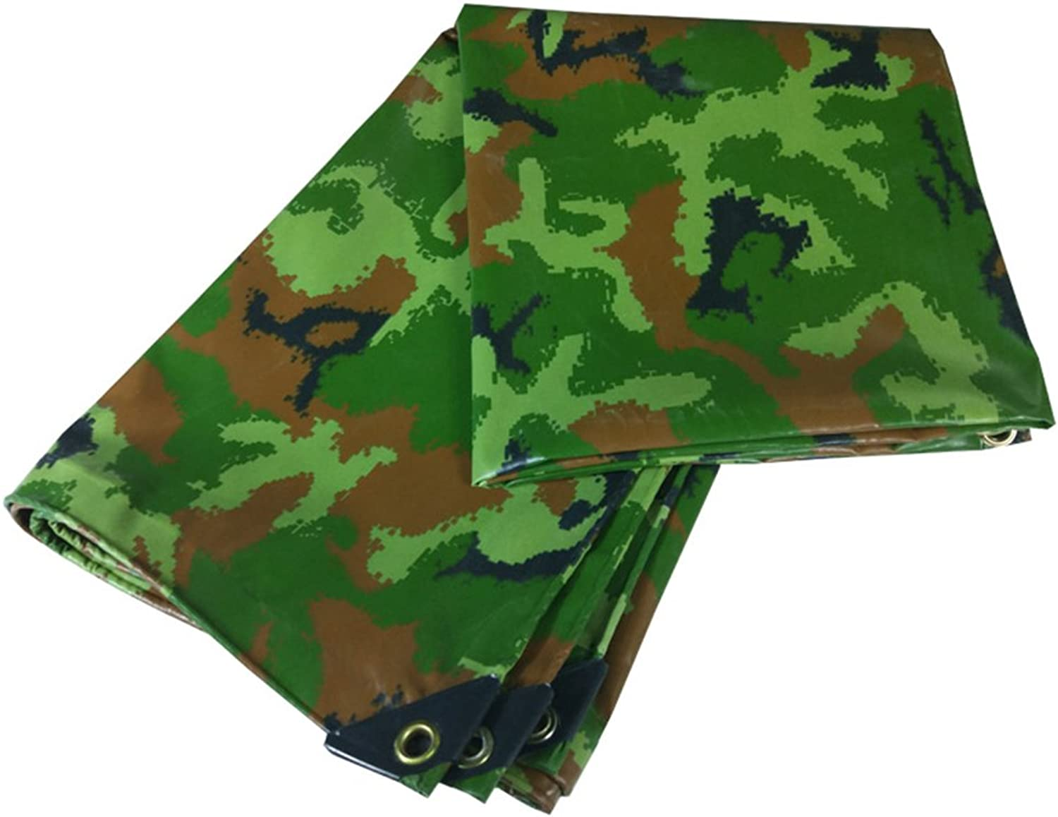 ZEMIN Tarpaulin Waterproof Sunscreen Tent Sheet Windproof Roof AntiAging Truck Polyester, Camo, 450G M2, 8 Sizes Available