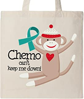 Inktastic Teal Ribbon Chemo Sock Monkey Tote Bag