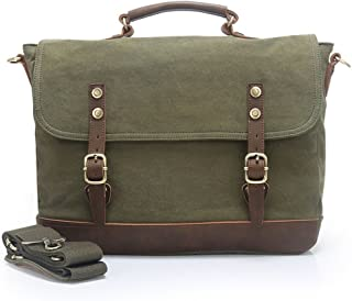 Men's Accessories Canvas European Style Briefcase Shoulder Messenger Crossbody Holder for Men Business Outdoor Recreation (Color : Green)