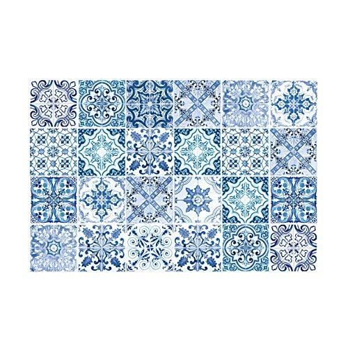 WALPLUS 24 pegatinas para azulejos de 15 cm, color azul, color turco, mediterráneo, adhesivo de vinilo para decoración del hogar, para cocina, baño, pintura de azulejos y azulejos