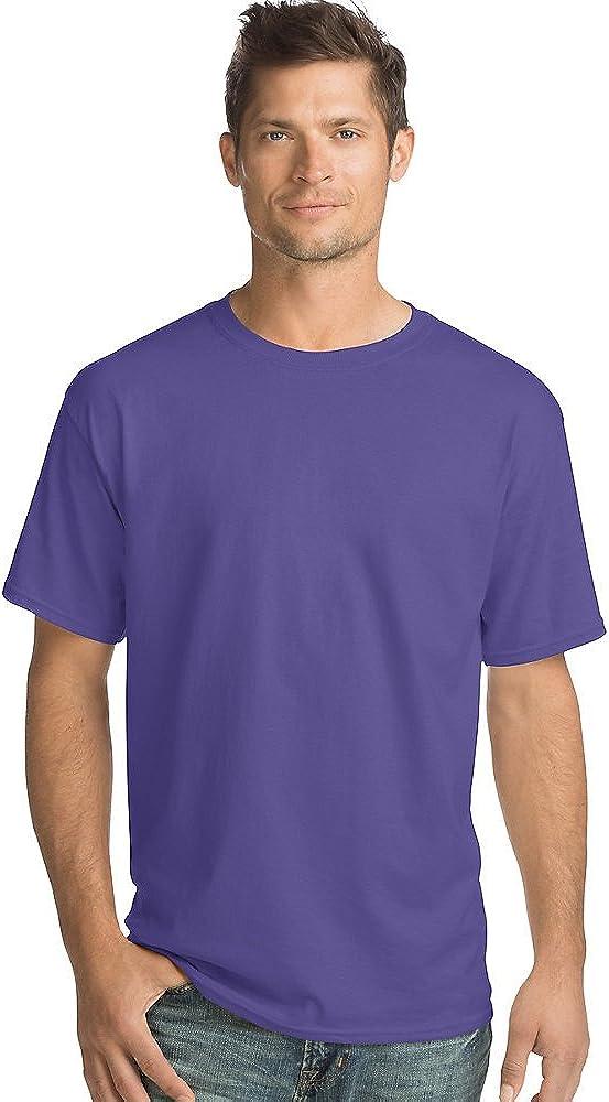 Men's 5.2 oz Hanes HEAVYWEIGHT Short Sleeve T-shirt, Purple, 2XL