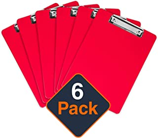 Plastic Clipboards (Set of 6) Multi Pack Clipboard (Red) Strong 12.5 x 9 Inch | Holds 100 Sheets! Acrylic Clipboards with Low Profile Clip | Cute Clip Boards Board Clips (Red)