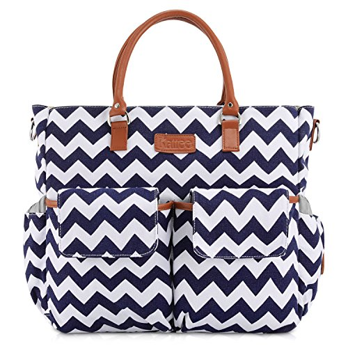 Kattee Chevron Travel Diaper Tote Bag with Changing Pad,...