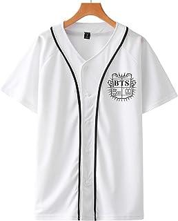 SIMYJOY Unisexo BTS FansT-Shirt KPOP Hombres y Mujeres Botón Frontal Cool Camiseta De Béisbol Hip Hop Moda callejera Suga Jin Jimin Jung Kook J-Hope Rap-Monster V para niños y niñas.