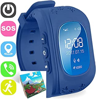 Jsbaby Kids Smart Watch for Children Girls Boys Digital Watch with Anti-Lost SOS Button GPS Tracker Smartwatch Great Gift for Children Pedometer Smart Wrist Watch for iOS Android (Deep Blue)