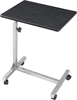 Over-Bed Table with Lockable Wheels, 3 Height Adjustable Sofa-Side Table, Rolling Medical Eating Tray Table, Portable Laptop Computer Desk, (18.9x14.6x26.4-31.1 inch)