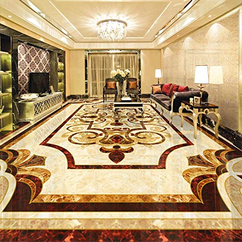 Etiqueta engomada de la baldosa del piso de mármol 3D PVC autoadhesivo impermeable piso mural papel tapiz HDsala de estar fondos de pantalla-200 * 140 cm