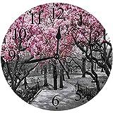 LUHUN Reloj de Pared Moderno,NYC Blossoms en Central Park Cherry Bloom Árboles Bosque Primavera Primavera Paisaje Imagenreloj de Cuarzo de Cuarzo Redondo No-Ticking para Sala de Estar 30 cm