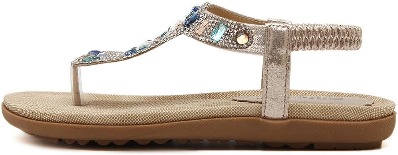 Mobnau Womens Anti-Skid Leather Jeweled Flat Thong Sandals