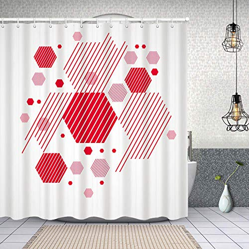 Starodec Duschvorhang wasserdicht Vektor Abstrakter roter Hintergrund erstellt Bauhaus mit Haken, waschbare Bad Vorhänge 62x72 inch
