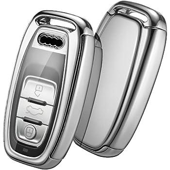 for Audi Key Fob Cover Case Premium Soft TPU 360 Degree Entire Protection Key Shell Key Case Compatible with Audi A4 A5 Q5 Q7 TT TTS S4 S5 RS4 RS5+4pac Car Wheel Tire Valve Stem Caps for audi