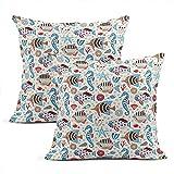 Fundas de almohada de algodón con diseño de burbujas de animales, 2 unidades de fundas de almohada cuadradas para el hogar, decoración de salón, dormitorio, sofá, silla, 45,7 x 45,7 cm