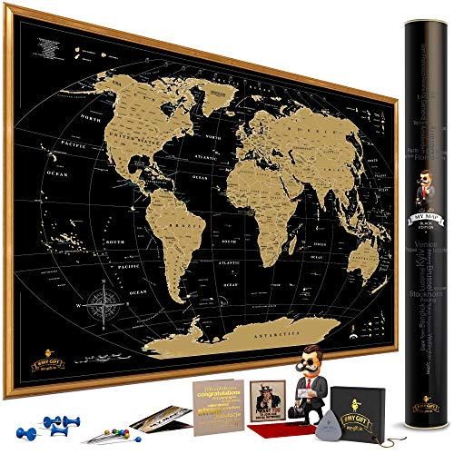 MyMap Gold Scratch Off World Map Wall Poster with US States, 35x25 inches, Includes Pins, Buttons...