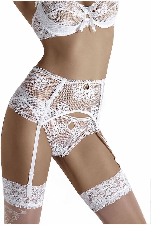 Roza Euterpe White Floral Lacy Garter Belt