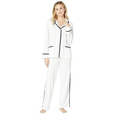 LAUREN Ralph Lauren Knit Twill Notch Collar Pajama Set (White) Women