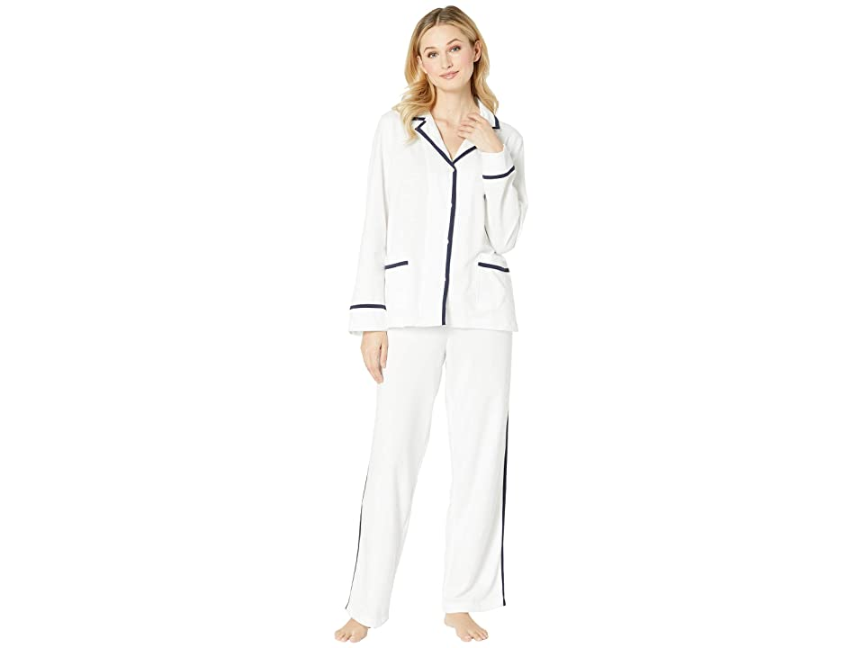 LAUREN Ralph Lauren Knit Twill Notch Collar Pajama Set (White) Women