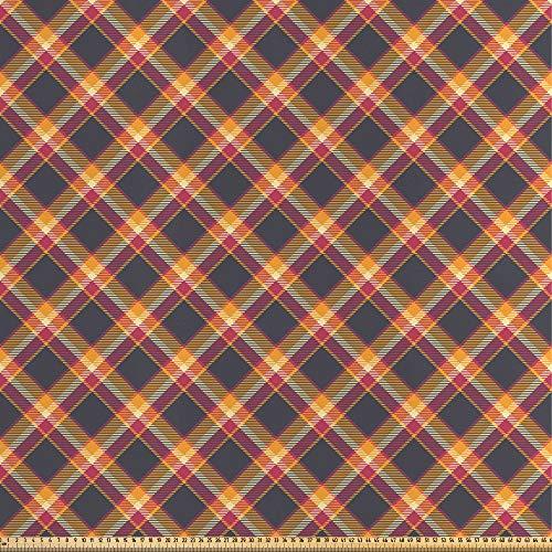 ABAKUHAUS Schotse ruit Stof per strekkende meter, British Country Style, Decoratieve Satijn Stof voor Huishoudtextiel en kunstnijverheid, 5 m, Charcoal Grey Marigold