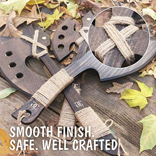 CG Games Engaging Wooden Axes for Kids -3 Pack Eco-Friendly Handmade Wooden Toy Axes for Kids Aged 5 and Up -Durable, Safe, Chemical Free Outdoor Play Equipment for Kids