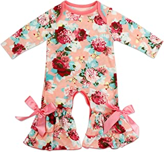 d535f964c4a Baby Little Girls Icing Ruffle Easter Valentine s Rose Romper Jumpsuit  Pants Floral Bodysuit for Kids Pajama