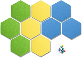ufengke 9 Pieces Hexagon Felt Board Sticker Colorful Self Adhesive Memo Boards with Push Pins for Office Living Room Bedroom