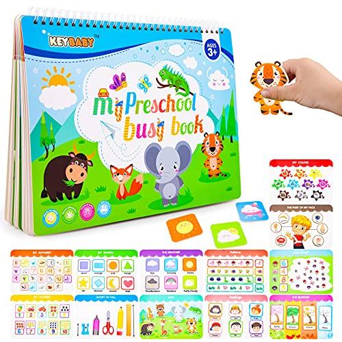 Weokeey Juegos Montessori, Tablero Montessori con 12 Temas Juguete Numeros Juegos Educativos con Letras Números Formas Colores, Juguetes Niños, Niñas, Niños Pequeños de 3 4 5 6 Años