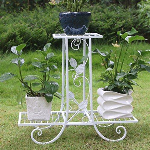 Style européen fer forgé balcon balcon double fleur étagère salon pot de fleurs ( Couleur : Blanc )